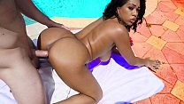 Black babe with big tits gets fucked hard