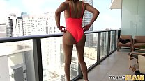 Ebony tgirl showing booty off before tugging