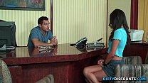 Deepthroating schoolgirl drilled on table
