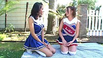 Hot Big tits college cheerleaders meet after school to show some love to each other to give satisfaction at the garden, outdoors