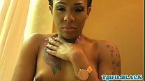 Roundass black transexual solo pulling cock