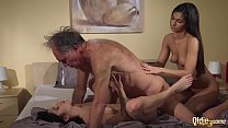 Old Young Porn Teens share old man and ride his wrinkled cock swallow cum