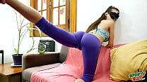 Amazing Big Cameltoe on Skinny Busty Teen in Tight Leggings