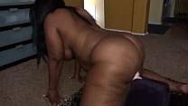 Ebony with fat ass fucks huge dildo
