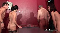 Young french babes banged and sodomized in 4some with Papy Voyeur