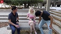 Two Asian Males Double Team Train Blonde Babe's Tiny Pink Pussy - BananaFever AMWF