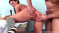 Brunette Gets Ass Gaped