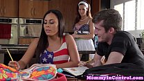 Busty stepmom cumswapping with teenage brat