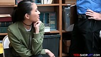 Asian teen shoplifter caught but seduces the security guard