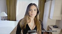 Busty oiled American Asian fucked hard on casting