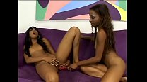 Beautiful black sluts Kapri Styles and Tina Price get each other off with a dildo in their pussies