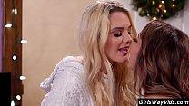 Christmas lesbian kissing