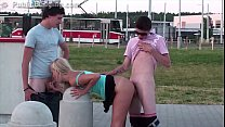 Extreme public sex threesome with a blonde cute teen girl and 2 young guys