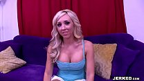 Blonde big titted Jessica Lynn gets rammed and creampied from behind