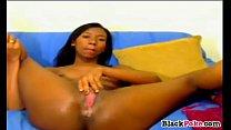 Hot ebony babe masturbating and toying pussy