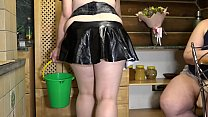 Lesbian with a huge strapon fucked a fat maid. Milf sexually shakes with big tits and juicy booty in a short skirt. Role-playing game of mature girlfriends.