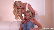 Big black double dong action with busty lesbians Kyra Hot & Rachele Richey