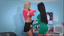 Kenna James and Raven Bay have an orgasm break in the office