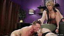 Huge tits Milf makes husband suck dick