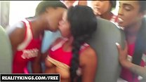 Black Cheerleaders  in uniform suck and lick on the bus - REALITYKINGS