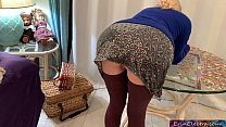 Stepmom has her tits hanging out and wants to fuck in the living room (POV)