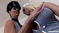 Lesbian lover Eve Angel fucks Sheila Grant's juicy jugs and wet pussy with a baton