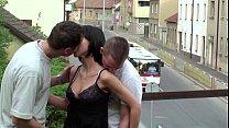 PUBLIC sex gangbang threesome with teen girl on a train bridge on a street