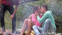 Handsome teen fucks like hard with her friends in the forest
