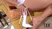 Eva Parcker Tempts In A Skimpy White Teddy & 7-inch Pumps