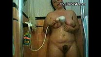 My fat Chubby Teen gf taking a shower