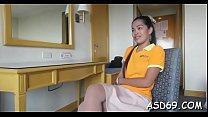 Slender thai girl gives an blow job