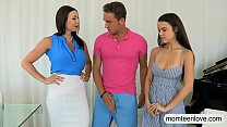 Lusty MILF and pretty teen amazing 3some