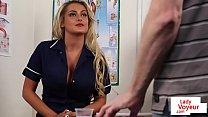 CFNM voyeur nurse instructing jerkoff