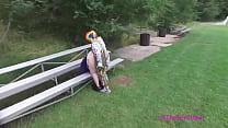 Clown fucks girl in public from drone view