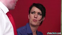 Clothed brit teacher tugs