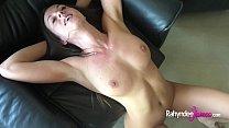 Busty natural Rahyndee James raw fucking POV takes cum facial!
