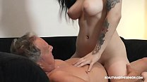 Beautiful MILF and sucks and fuck at grandpas