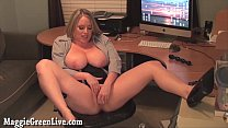 Busty Office Slut Maggie Masturbates At Desk!