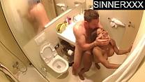 HIDDEN CAM - interracial cheaters caught fucking in the bathroom