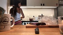 Young amateur wife does the dishes when the voyeur cam is on