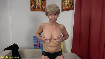 skinny 75 years old grandma first time on video