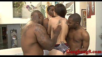 Kinky babe asshole rammed by black dudes