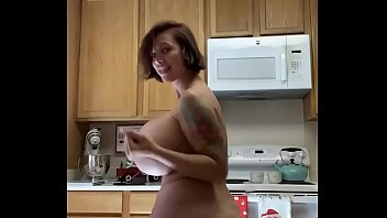 Brittany Elizabeth in the kitchen dancing naked