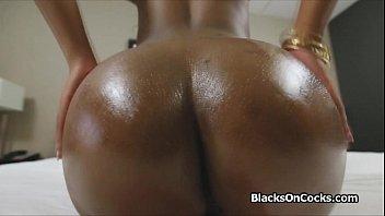 Oiled black cutie sucks at casting
