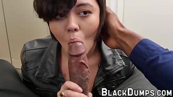 Big cocked black guy fucks a cute young girl in POV