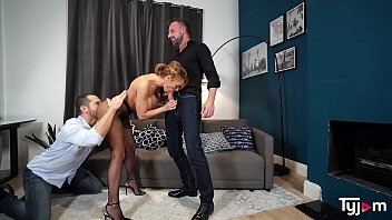 Hot slut Stacey Saran get fucked by 2 strong guys