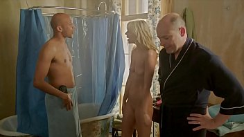 Totally nude girl surprised in the shower.  Full frontal, shaved pussy in the 2013 movie Hell b. featuring Riki Lindhome