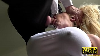 Throated milf sub tied up and ballgagged