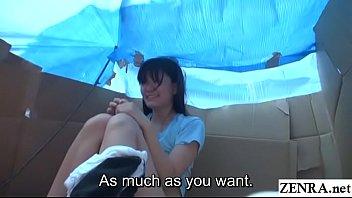 Homeless JAV star sex for food in cardboard home Subtitled