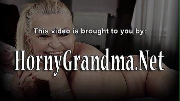 Grandmother in glasses gets cum sprayed